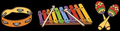 muziekinstrumenten 3 op een rij